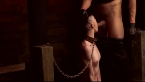 Cute coed girl caught getting her tits clamped by a huge cock