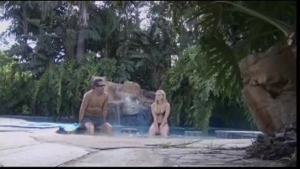 Live lezdom sex including blowdoll by the pool