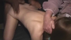 Screwing on one cock in a gang bang