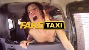 Nerdy blonde babe got into a stranger's taxi and did not have money to pay for the ride